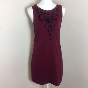 TopShop Beaded Long Blouse Mini Dress Burgundy NWT